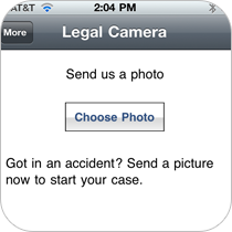 Allow customers to take a photo or send an existing photo and email it directly to your business inside your app.