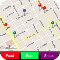 Create an app function that displays any points of interest on a map and categorize them however you'd like.